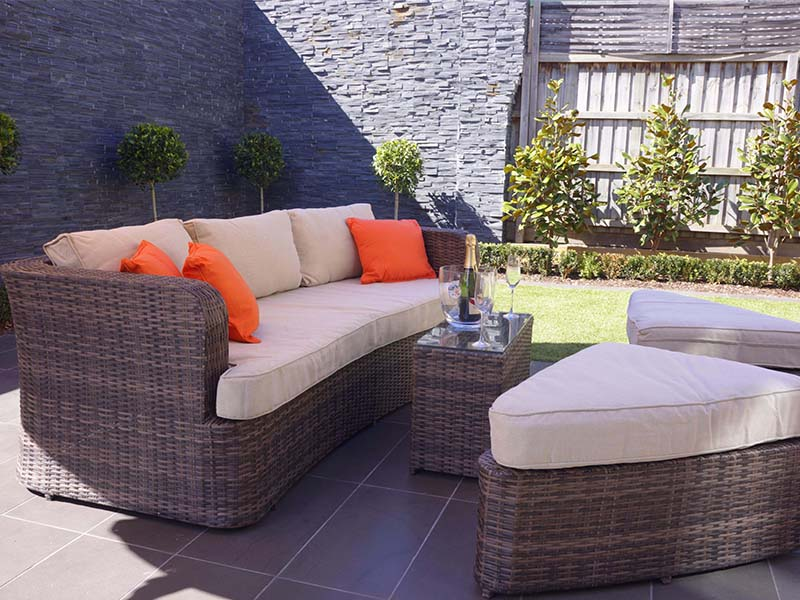 rattan outdoor lounger