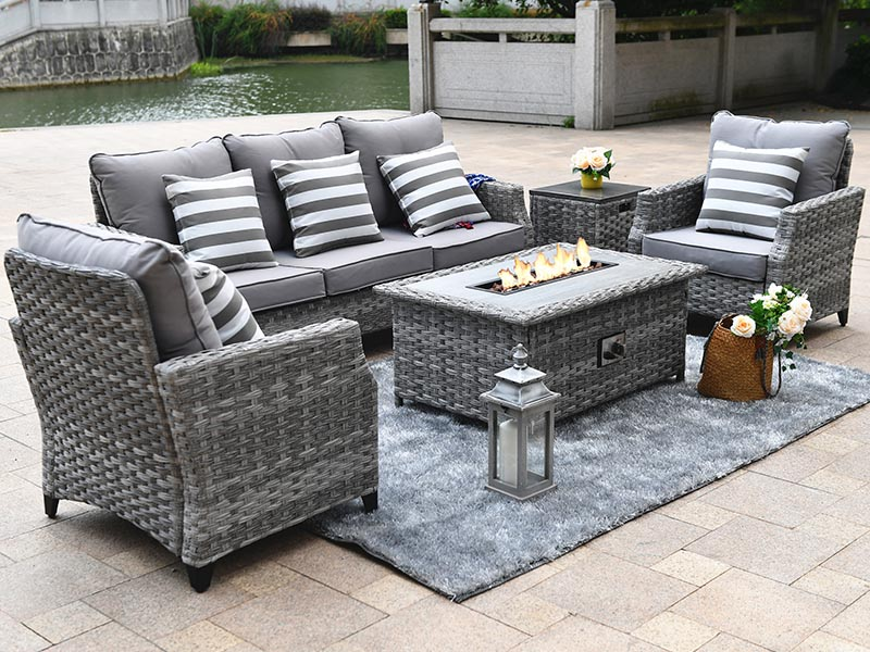 Whole Practical Garden Rattan Sofa, Grey Rattan Garden Furniture With Fire Pit Table