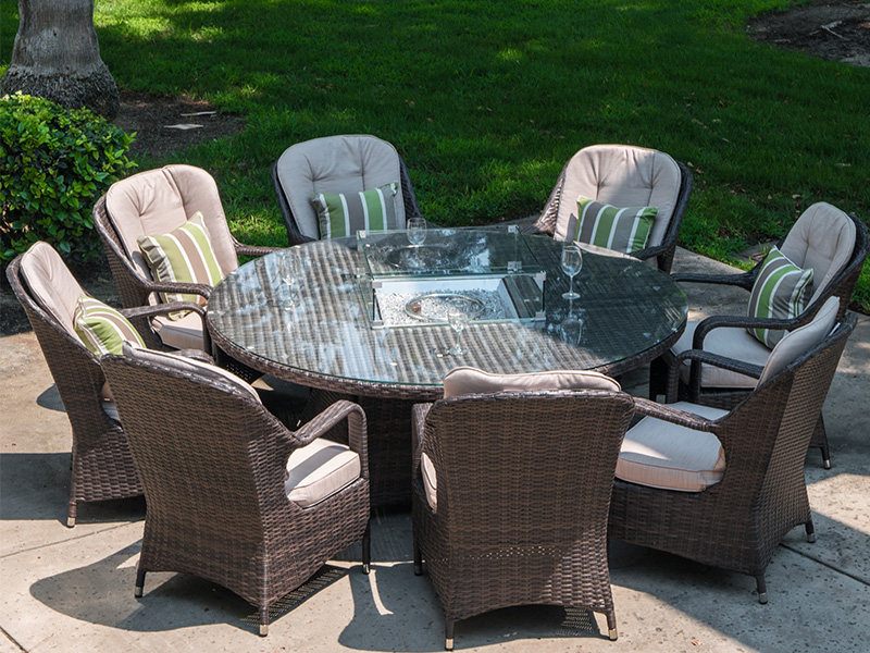 Hot S Outdoor Furniture Rattan Gas, Rattan Garden Furniture With Gas Fire Pit Table