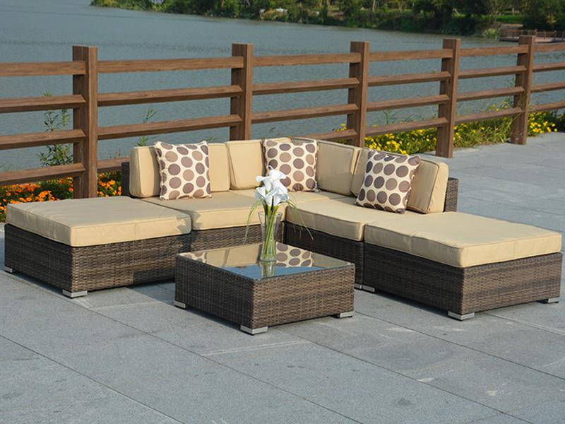 Rattan sofa set with cushion