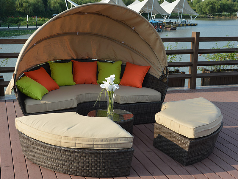High quality rattan lying bed designs living room furniture